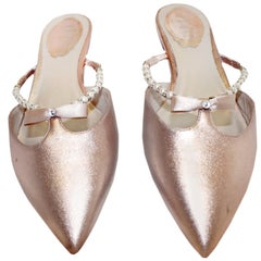 Rene Caovilla Rose Metallic Leather Flat Mules  With Faux Pearl  Straps
