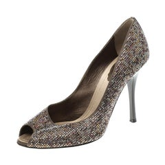 René Caovilla Satin Crystal Embellished Peep Toe Pumps Size 38