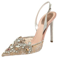 René Caovilla Silver Crystal Lace And Leather Slingback Sandals Size 38.5