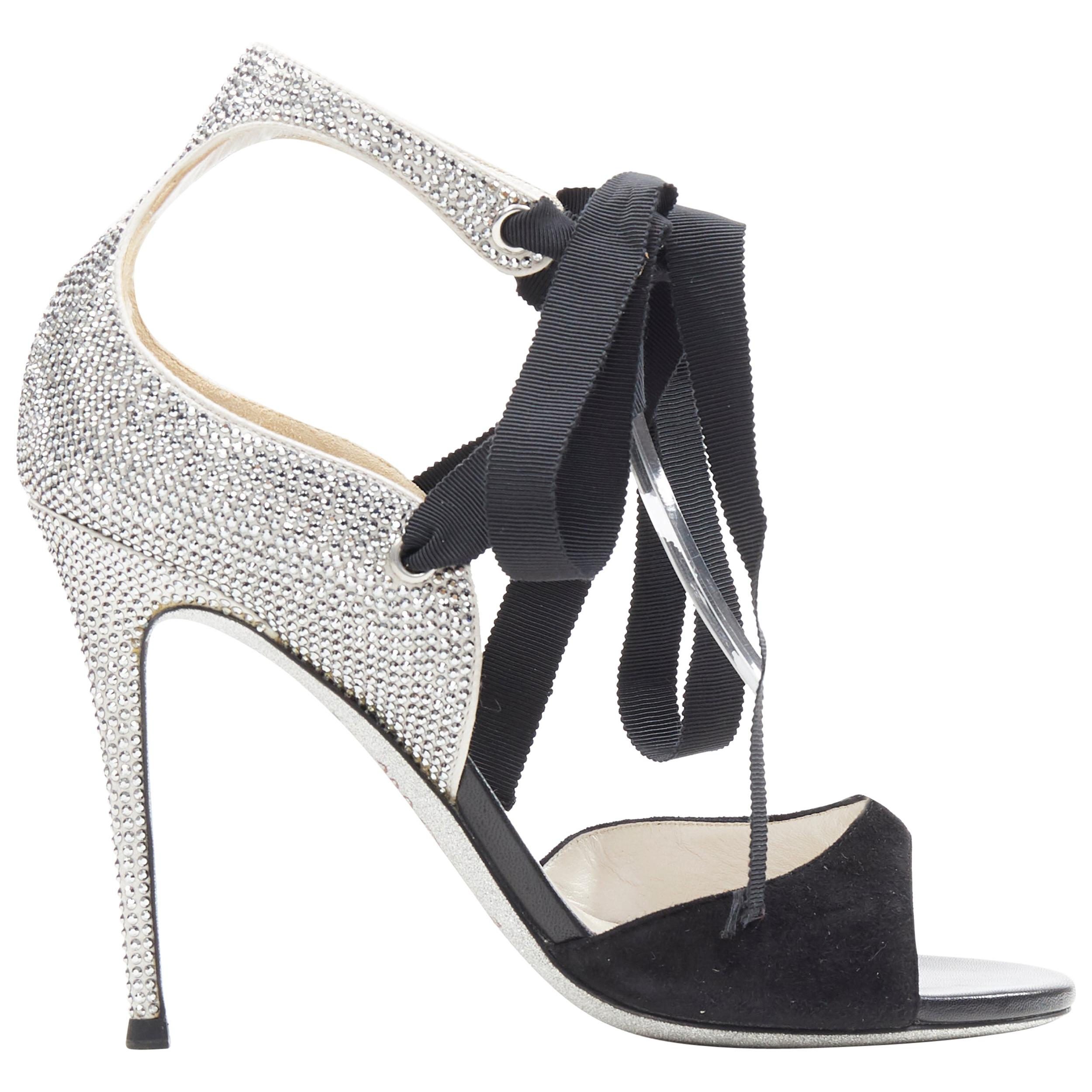 RENE CAOVILLA silver crystal strass embellished black suede ribbon sandal EU37