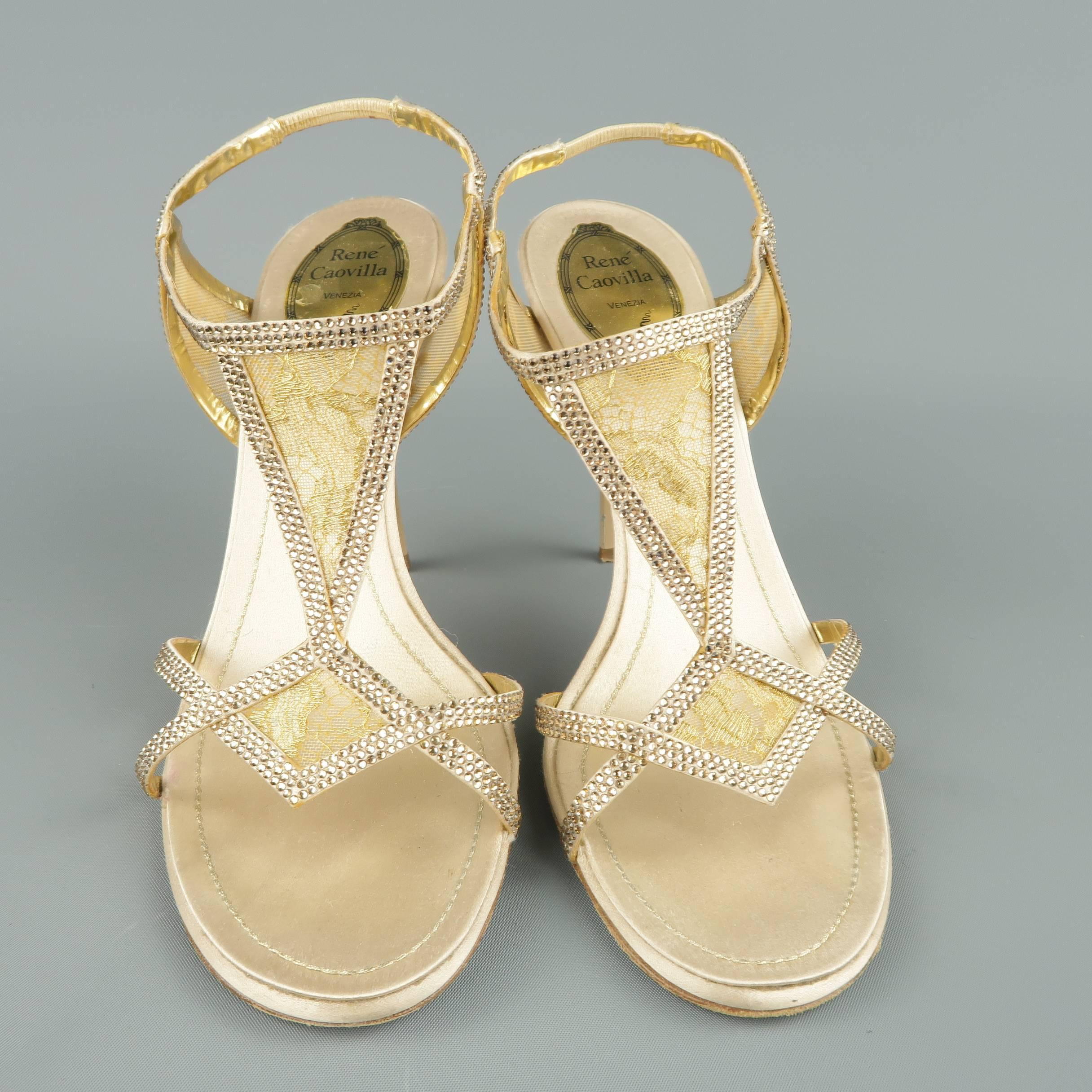 38b4071849c RENE CAOVILLA Size 10 Beige Rhinestone Leather and Gold Lace Sandals For  Sale at 1stdibs