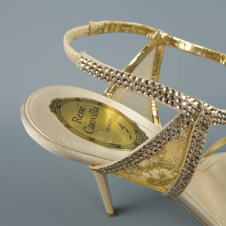 c582420f0d3 RENE CAOVILLA Size 10 Beige Rhinestone Leather   Gold Lace Sandals For Sale  3