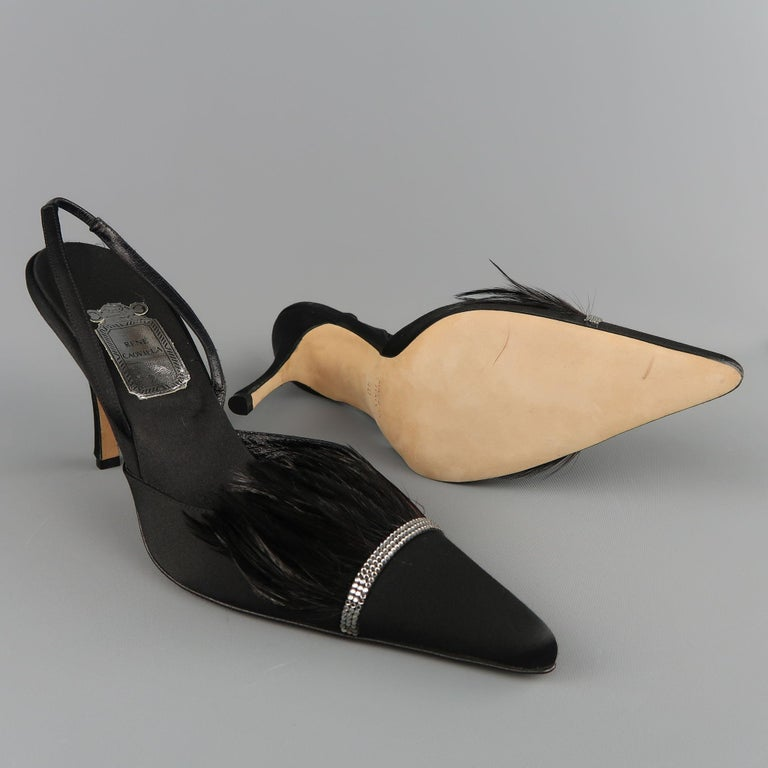 RENE CAOVILLA Size 10 Black Silk Feather & Rhinestone Pointed Slingback Pumps In Excellent Condition For Sale In San Francisco, CA