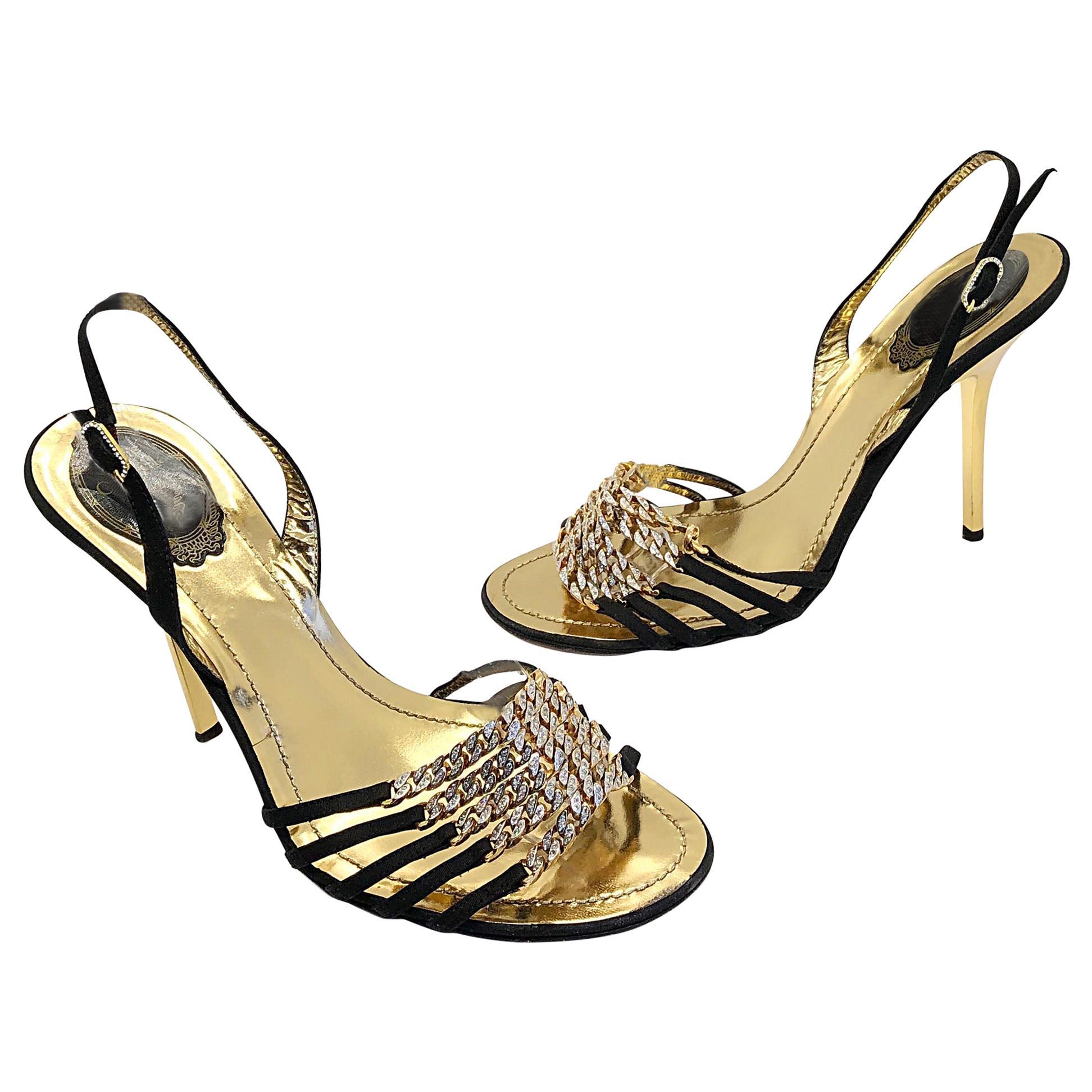 Rene Caovilla Size 38.5 / 8.5 Black + Gold Rhinestone Strappy High Heels Shoes