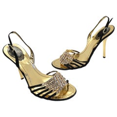 Rene Caovilla Size 38.5 / 8.5 Black + Gold Rhinestone Strappy High Heels Shoes
