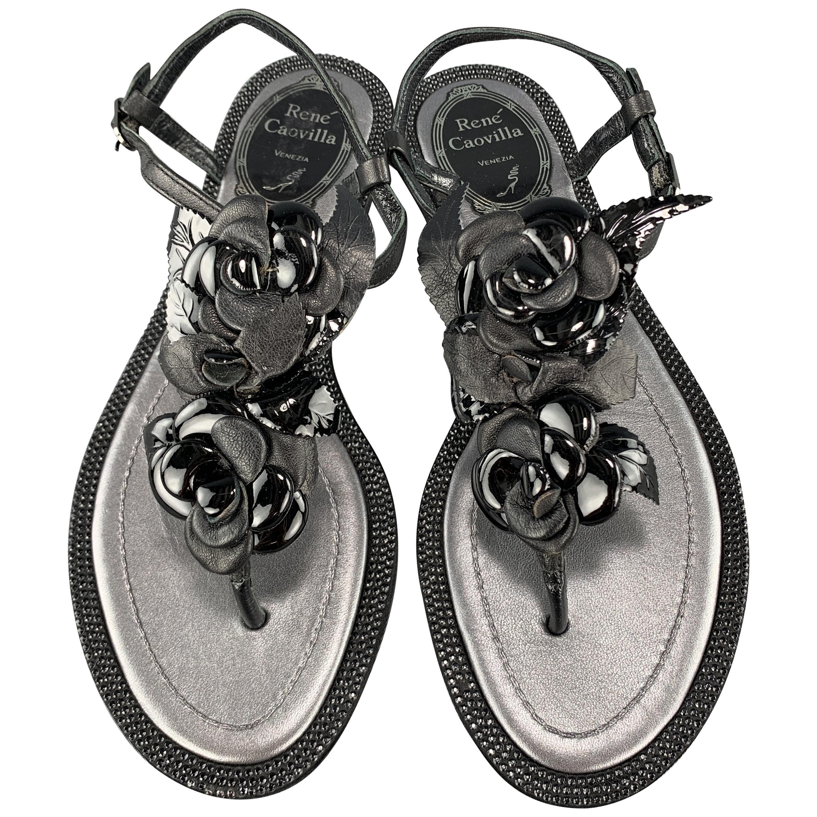 RENE CAOVILLA Size 4 Black Leather Rose T Strap Crystal Studded Sandals