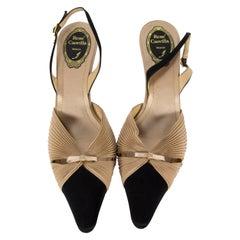 Rene Caovilla Venezia Women's Silk Sling Back Pumps Italy Size 39 1/2