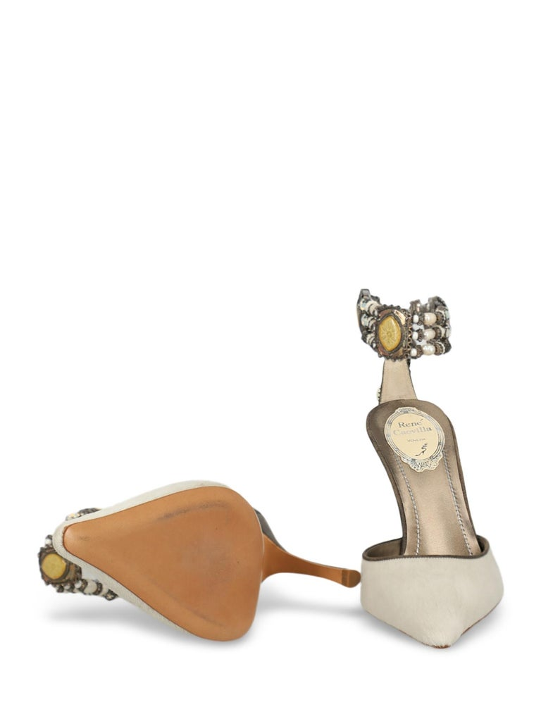 Rene Caovilla Woman Mules Green Leather IT 38 In Excellent Condition For Sale In Milan, IT