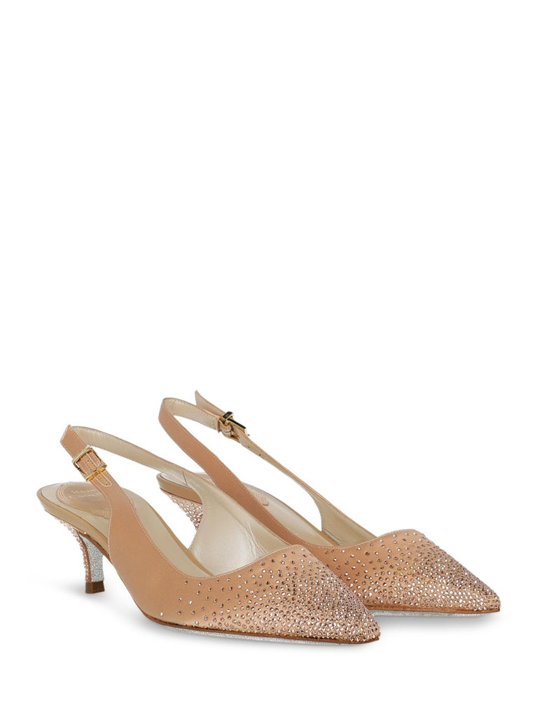 Shoe, fabric, solid color, backless design, slingback strap, pointed toe, branded insole, contrasting sole, cone heel, low and flat heel, crystal embellishment, embellished heel.  Includes: - Dust bag - Box - Heel tip replacement  Product Condition: