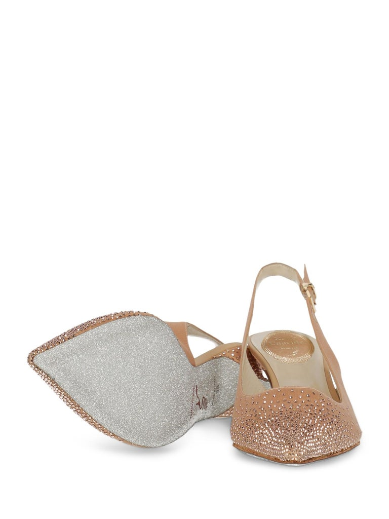 Rene Caovilla Woman Mules Pink Fabric IT 39 In Excellent Condition For Sale In Milan, IT