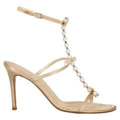 Rene Caovilla Woman Sandals Ecru Fabric IT 36.5