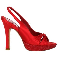 Rene Caovilla Woman Sandals Red Fabric IT 37