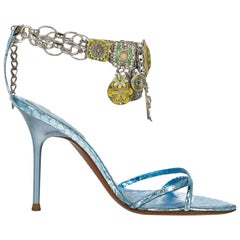 Rene Caovilla Woman Shoes Sandals Blue Leather EU 36