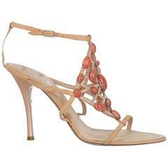 Rene Caovilla Women  Sandals Beige Leather IT 41