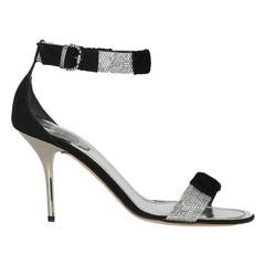 Rene Caovilla Women  Sandals Black Fabric IT 37.5