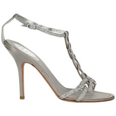 Rene Caovilla Women  Sandals Grey Fabric IT 37