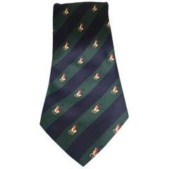 Rene Chagal blue green horses silk tie