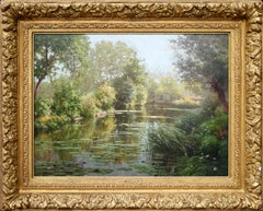 """""""La mare aux nénuphars"""" oil on canvas painting by René Charles Edmond His"""