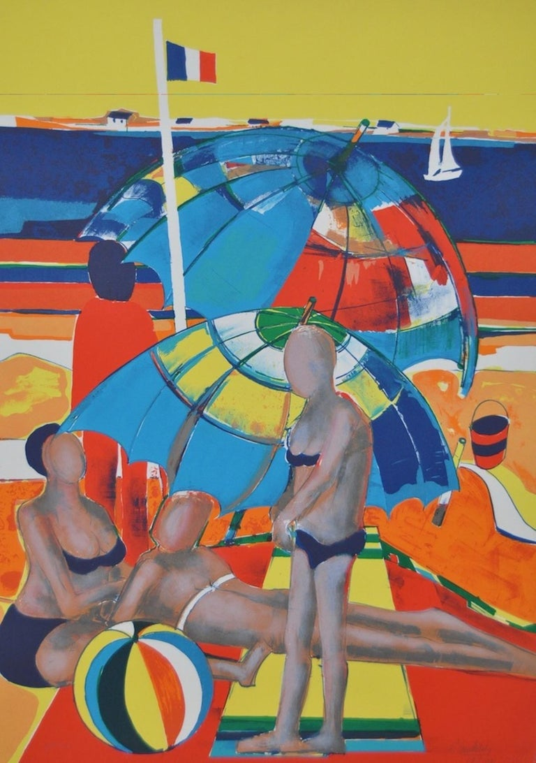 Rene Couturier Color Lithograph c.1977  Color lithograph by noted French artist Rene Couturier (b.1933)  A beautiful day on a beach in France.  Dimensions 22