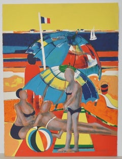"Rene Couturier ""A Day At The Beach"" Color Lithograph c.1977"