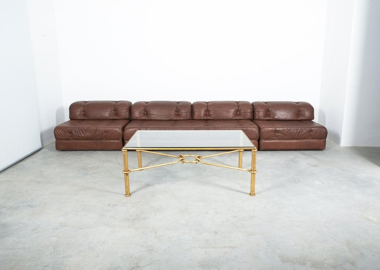 Large Gilt Iron Coffee Table Giovanni Banci for Hermes, Italy, Midcentury In Good Condition For Sale In Vienna, AT