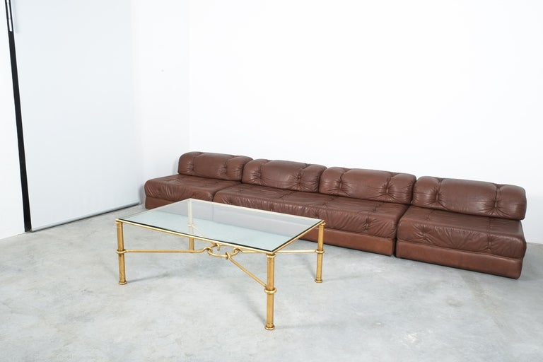 Late 20th Century Large Gilt Iron Coffee Table Giovanni Banci for Hermes, Italy, Midcentury For Sale