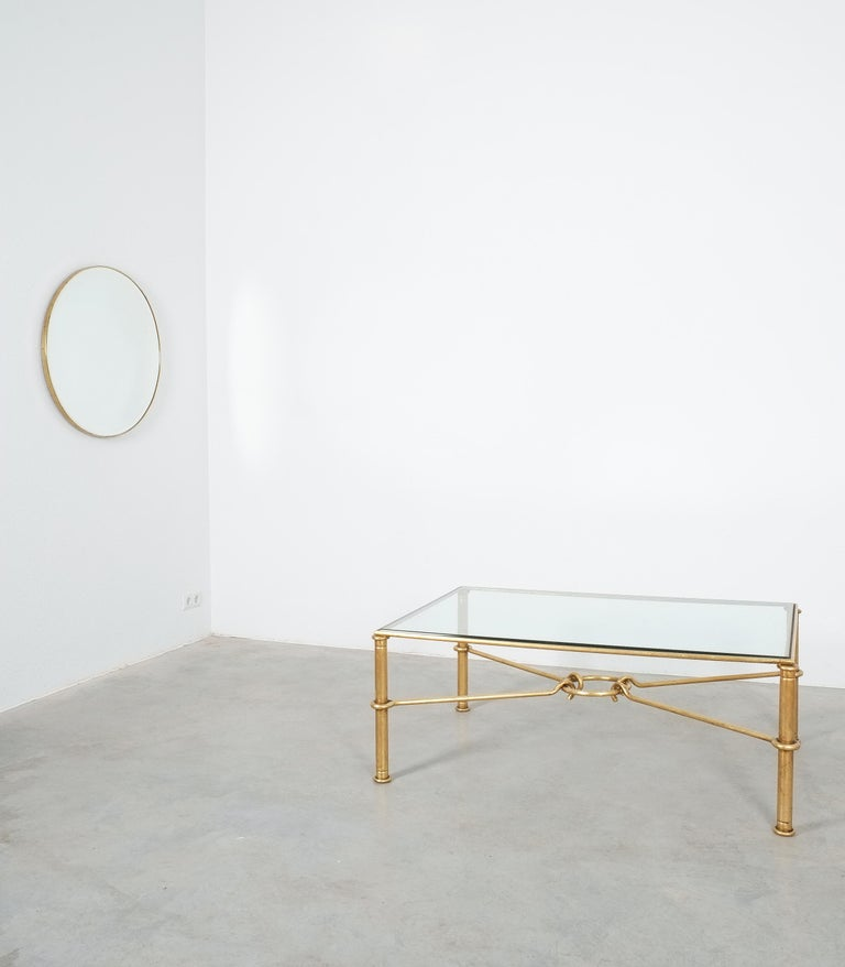 Large Gilt Iron Coffee Table Giovanni Banci for Hermes, Italy, Midcentury For Sale 2