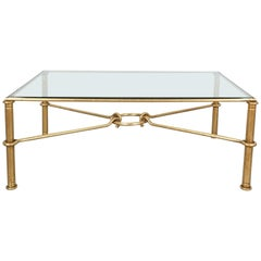 René Drouet Attributed Large Gilt Iron Coffee Table, France, Midcentury