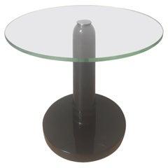 René Drouet Brown Lacquer Wood Coffee Table, Circular Glass Slab Top, 1930