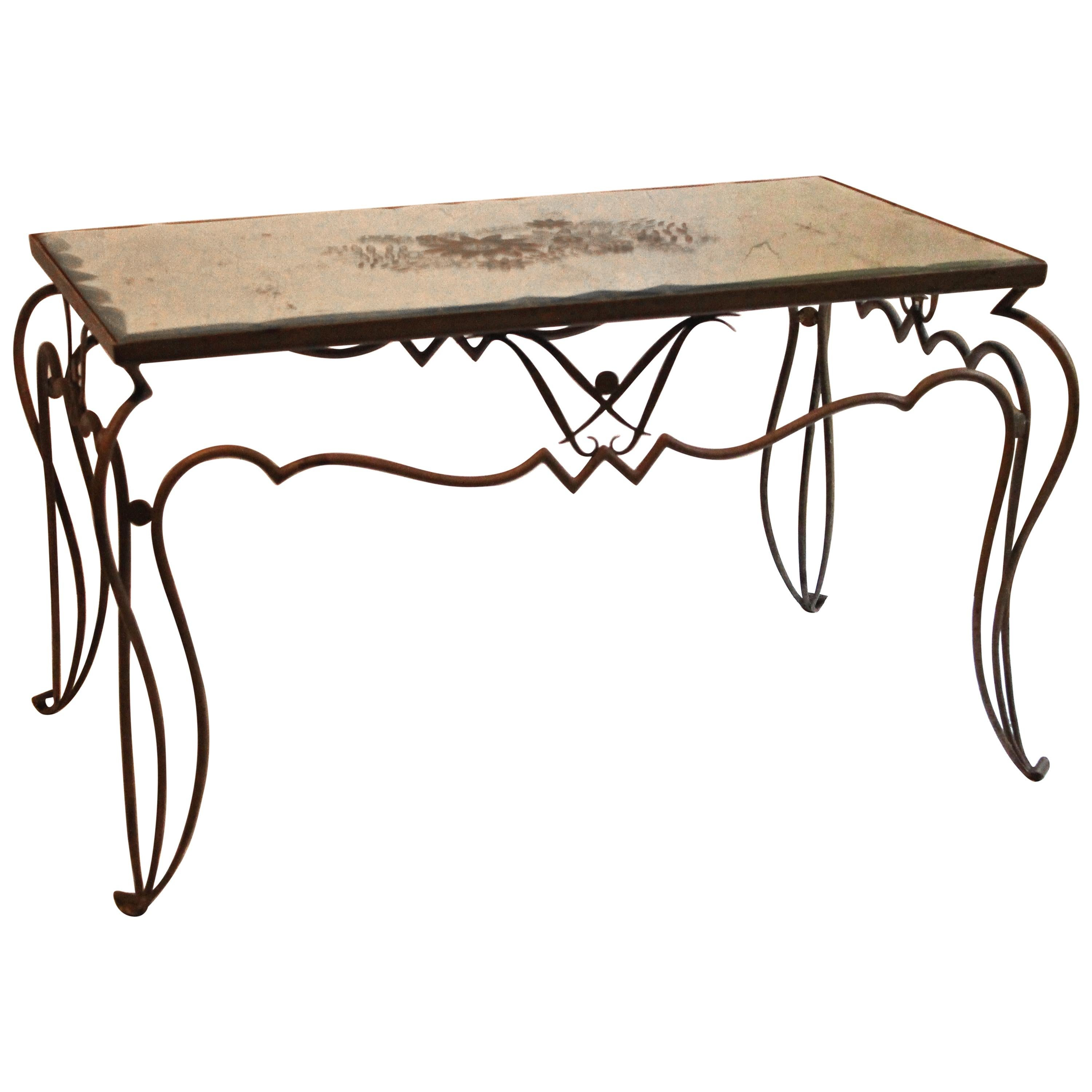 René Drouet French 1940s Coffee Table Wrought Iron and Églomisé Mirrored Top