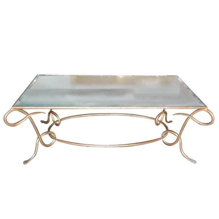 René Drouet Gilded Cocktail Table with Oxidized Mirror Top For Sale