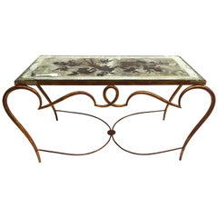 René Drouet Gilded Art Deco Cocktail Coffee Table with Silver Gilded Glass Top