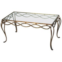 Rene Drouet Gilt Forged Iron Coffee Table