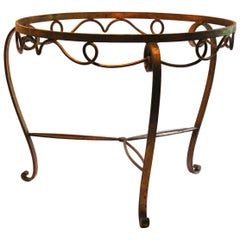 Rene Drouet Style Gilded Wrought Iron Coffee Table