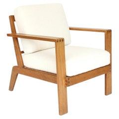 Rene Gabriel French Oak Grid Back Lounge Chair Reconstruction Period