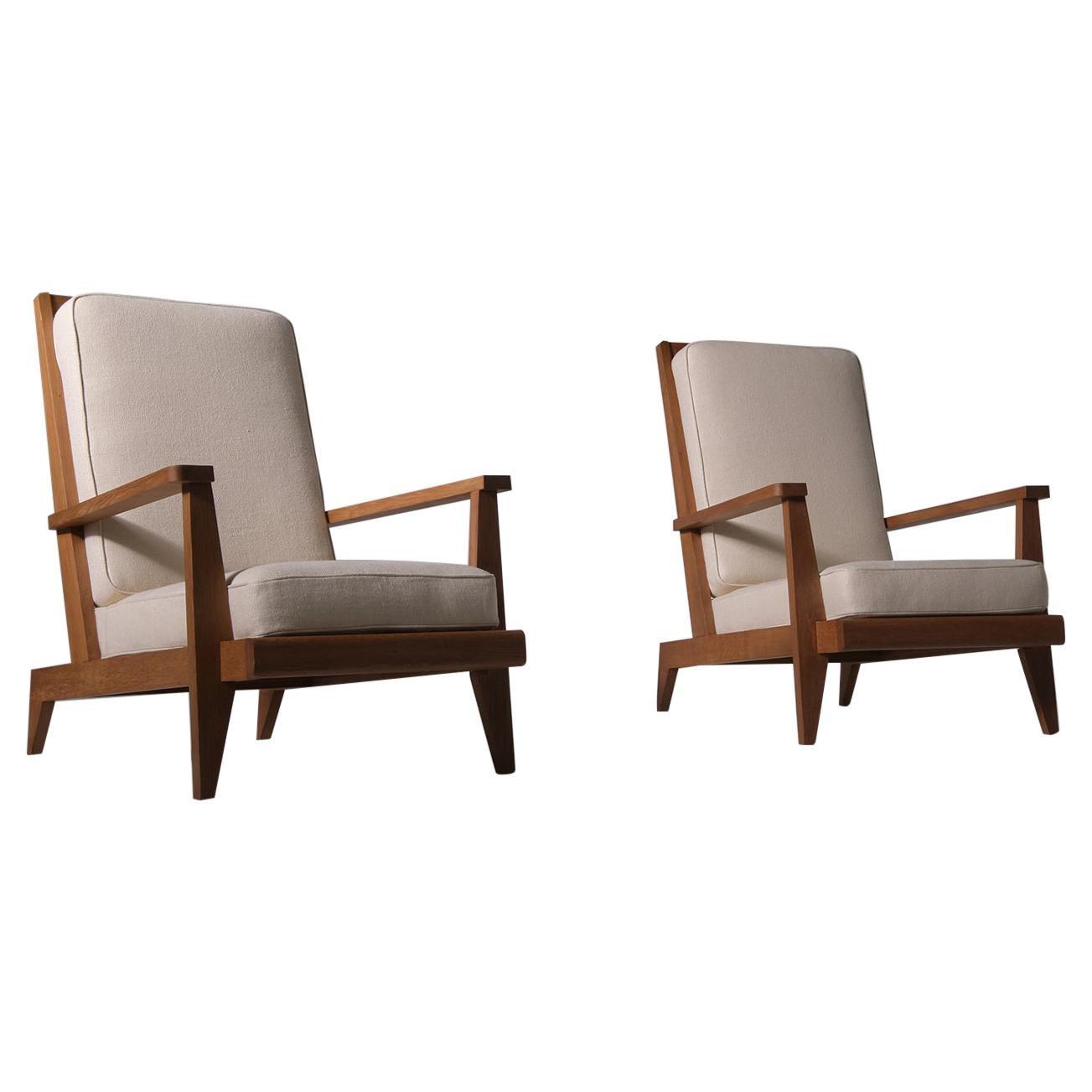 René Gabriel Lounge chairs in French Oak, France 1946