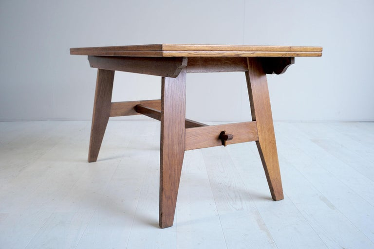 René Gabriel Oak Dining Table France 1945