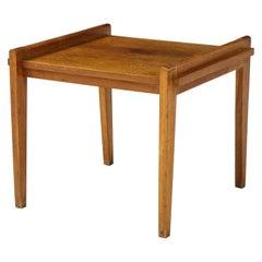 René Gabriel Rare Form Oak Side Table, France, circa 1945