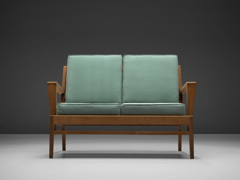French René Gabriel Sofa in Solid Oak and Turquoise Fabric Upholstery For Sale