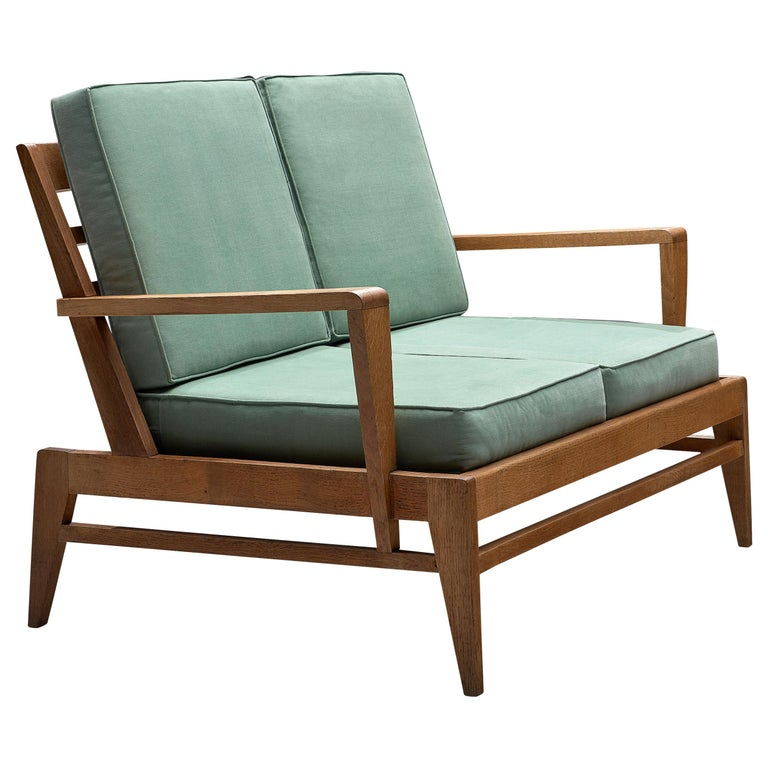 René Gabriel Sofa in Solid Oak and Turquoise Fabric Upholstery For Sale