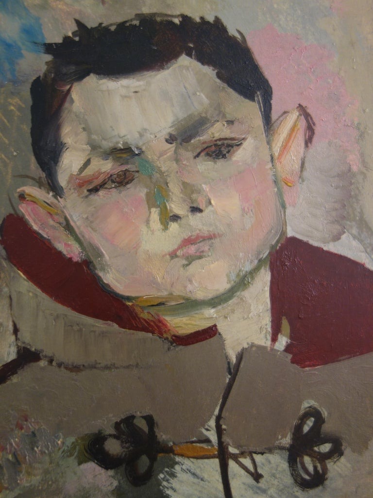 Boy with Duffle Coat - Original hansigned oil on paper - Modern Painting by René Genis