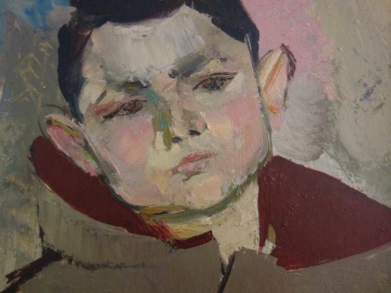 Boy with Duffle Coat - Original hansigned oil on paper - Gray Portrait Painting by René Genis