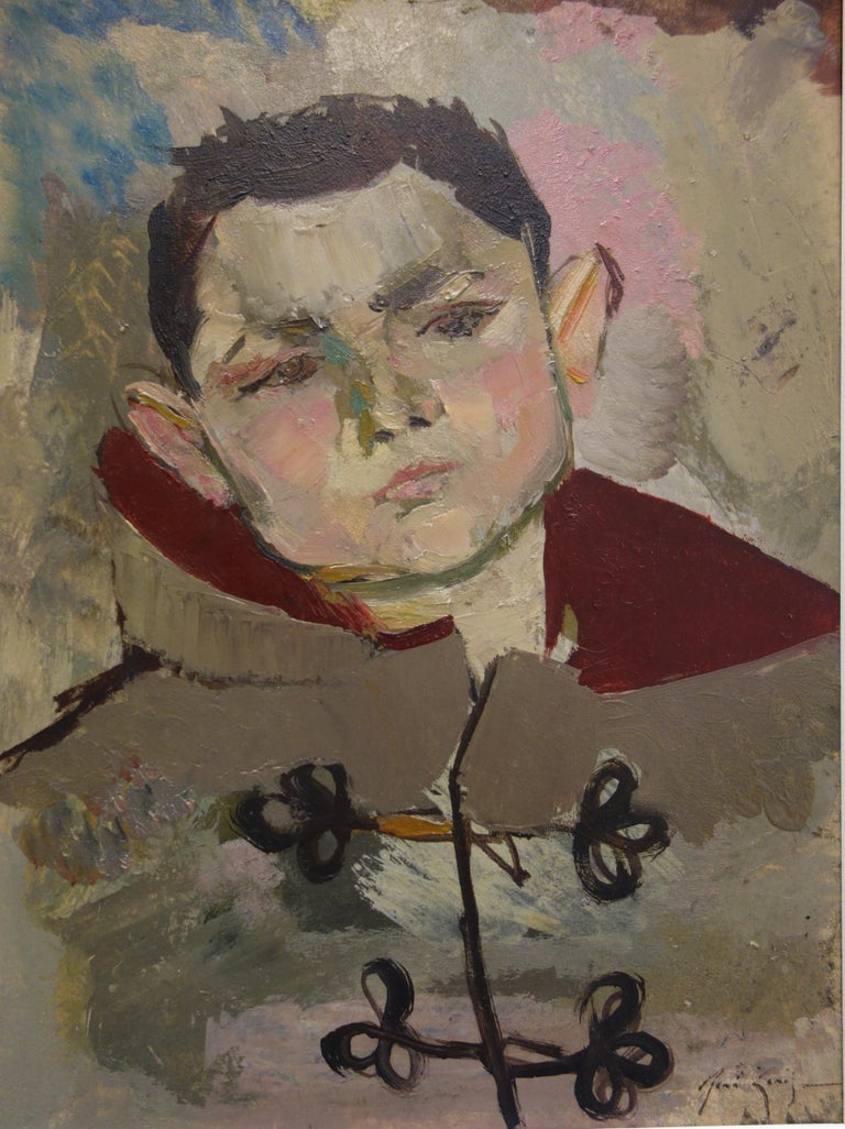 René Genis Portrait Painting - Boy with Duffle Coat - Original hansigned oil on paper