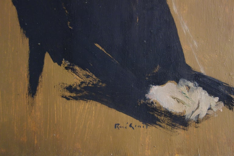 Dreaming Woman - Original hansigned oil on paper - Painting by René Genis