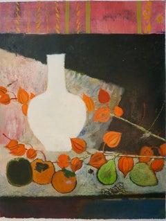 """Fruits Fleurs Et Vase Blanc"" / Fruits, Flowers And White Vase"