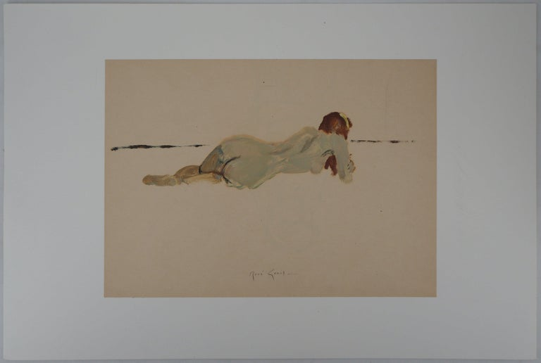 Lying Nude - Original hansigned oil on paper - Painting by René Genis