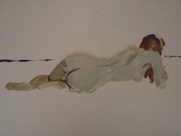 Lying Nude - Original hansigned oil on paper - Modern Painting by René Genis