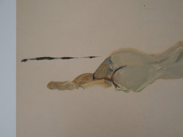 Lying Nude - Original hansigned oil on paper - Brown Nude Painting by René Genis