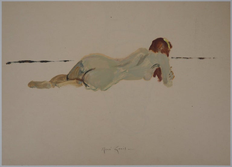 René Genis Nude Painting - Lying Nude - Original hansigned oil on paper