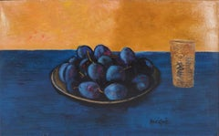 Still Life with Plums - Handsigned oil on canvas